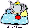 tea pot, tray, snack Vector Clip Art graphic