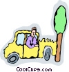 Vector Clip Art graphic  of a car accident