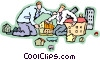 Vector Clipart picture  of a two businessmen working with