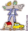 Vector Clipart illustration  of a businessman juggling work