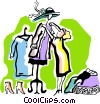 Vector Clip Art image  of a dressing a mannequin