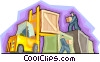 warehouse, shipping, forklift Vector Clip Art graphic