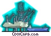 oil drilling platform with cargo ship Vector Clip Art graphic