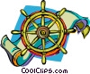 Vector Clipart graphic  of a captain's wheel