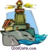 Vector Clip Art image  of a lighthouse
