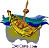 Wooden sailing ship, boat Vector Clip Art image