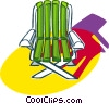 Vector Clipart illustration  of a small wooden outdoor deck chair