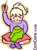 children at play, kids, girl sewing Vector Clipart picture