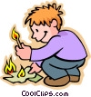 Vector Clipart graphic  of a boy lighting fire