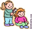 girls brushing hair Vector Clipart illustration