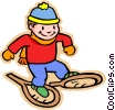 Vector Clip Art graphic  of a boy with snowshoes