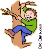 Vector Clip Art image  of a boy climbing tree