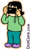 girl taking picture with camera Vector Clip Art picture