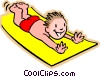 boy on water slide Vector Clip Art picture