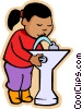 Vector Clip Art picture  of a girl at drinking fountain