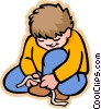 Vector Clip Art graphic  of a boy tying shoe laces