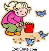 girl playing in sand, beach Vector Clipart image