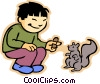 Vector Clip Art image  of a boy feeding squirrel