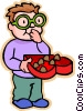 Vector Clip Art picture  of a boy with valentine chocolates