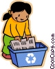 Vector Clip Art picture  of a girl recycling using blue box