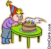 Boy blowing out birthday candles Vector Clip Art picture