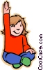 Vector Clip Art image  of a girl with raised hand asking
