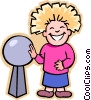 Vector Clipart image  of a girl learning electricity