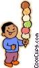 boy with six scoop ice cream cone Vector Clip Art graphic