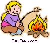 girl toasting marshmallow over fire Vector Clip Art image
