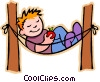 Boy resting in hammock Vector Clipart picture