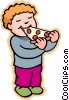 children at play, kids, boy eating pizza Vector Clipart illustration
