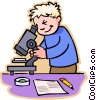 Boy looking through microscope Vector Clipart illustration
