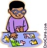 children at play, kids, boy doing puzzle Vector Clip Art picture