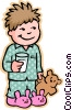 boy going to bed, with teddy bear Vector Clipart illustration