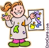 Girl artist showing painting Vector Clipart image