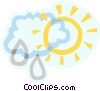 decorative symbol, weather, sun and rain cloud Vector Clipart picture