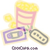 decorative symbol, video time, popcorn Vector Clipart illustration