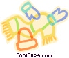 Vector Clipart graphic  of a hat, scarves and mittens