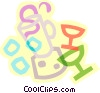 decorative symbols, cocktail glasses and blender Vector Clipart graphic