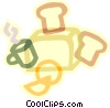 breakfast, toast, coffee and toaster Vector Clipart illustration