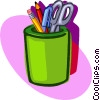 cup of pencils collected over years Vector Clip Art picture