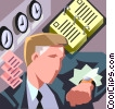 Vector Clipart graphic  of a businessman checking his watch