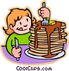 girl eating pancakes Vector Clip Art picture