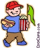Vector Clip Art graphic  of a boy with hotdog popcorn and pennant