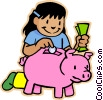 girl putting money in piggy bank Vector Clipart illustration