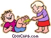 Vector Clipart graphic  of a girl tickling boy on feet