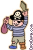 Boy in pirate Halloween costume Vector Clipart illustration