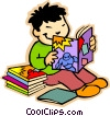Vector Clipart picture  of a boy reading comic books