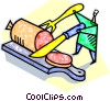 Human chef form with salami and knife and fork Vector Clipart illustration