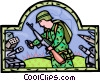 soldier with grenade in hand, military Vector Clipart image